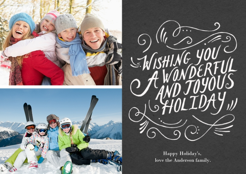 Holiday Photo Cards 5x7 Cards, Premium Cardstock 120lb with Scalloped Corners, Card & Stationery -Joyous Holiday