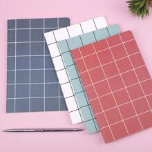 2pcs Plaid Pattern Cover Random Notebook