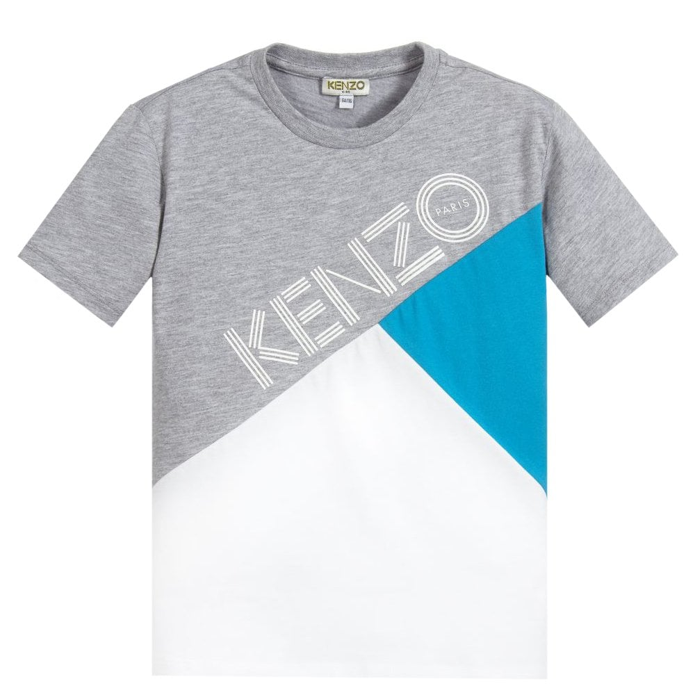 Kenzo Paris Multi Coloured Print Tshirt Colour: WHITE, Size: 8 YEARS
