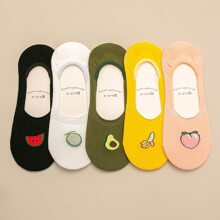 5pairs Fruit Graphic Invisible Socks