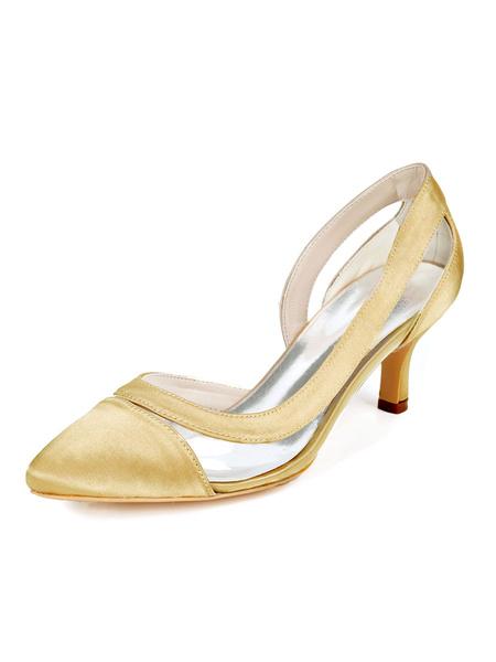 Milanoo Women\'s Mid-Low Heels Pointed Toe Kitten Heel Slip-On Elegant Pumps