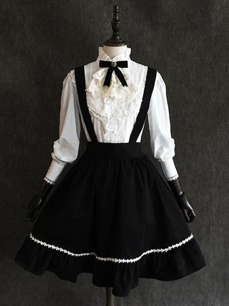 Milanoo Classic Lolita SK Little Devil Chiffon Frill Black Lolita Skirt