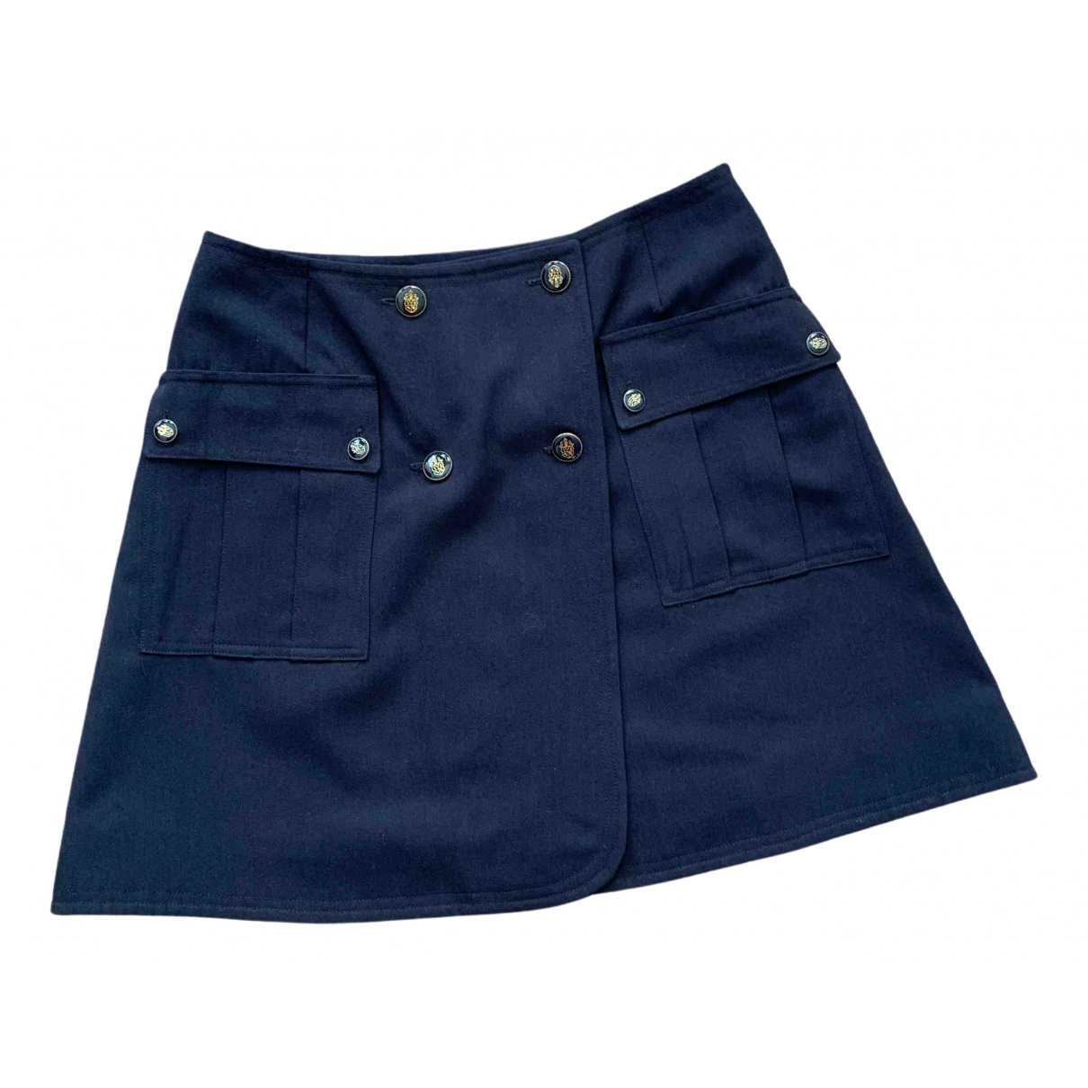 Non Signé / Unsigned \N Navy Wool skirt for Women 40 FR
