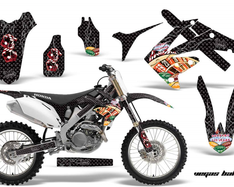 AMR Racing Dirt Bike Graphics Kit Decal Sticker Wrap For Honda CRF450R 2009-2012áVEGAS BLACK
