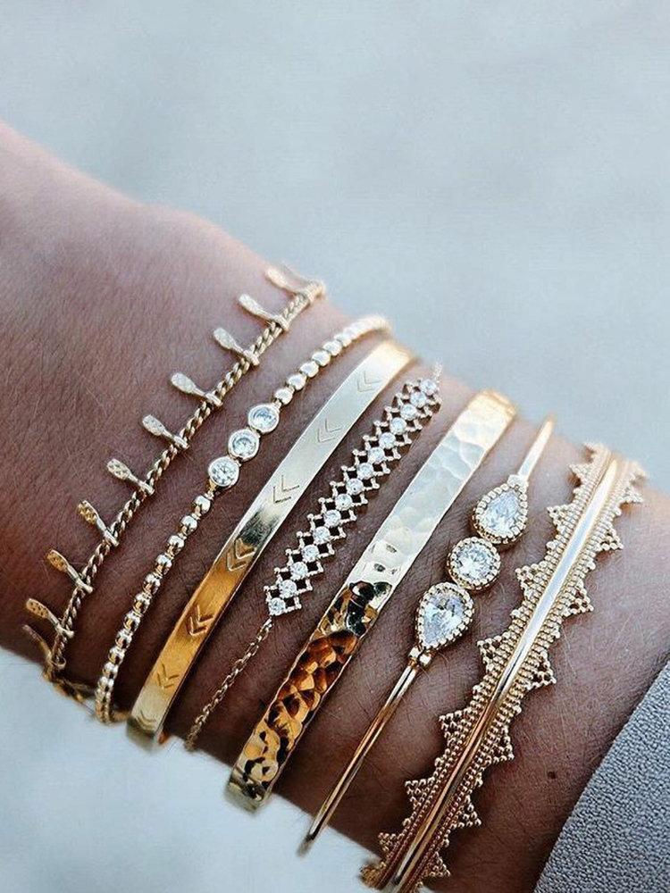 Vintage Beaded Bracelet Set Geometric Water Drop Diamond Opening Tassel Pendant Chain Bracelet