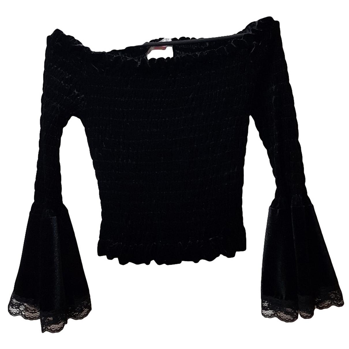 Lm Lulu - Top   pour femme en velours - noir