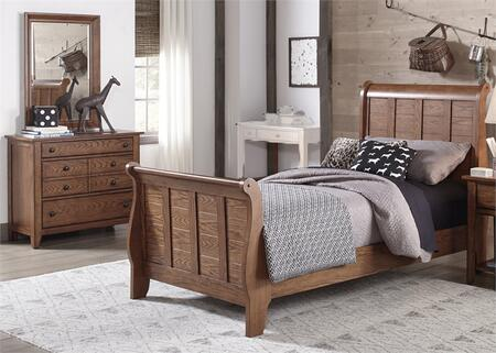 Grandpas Cabin Collection 175-YBR-TSLDM 3-Piece Bedroom Set with Twin Sleigh Bed  Dresser and Mirror in Aged Oak