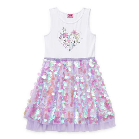 Jojo Siwa Little & Big Girls Sleeveless Tutu Dress, Medium (10-12) , Purple