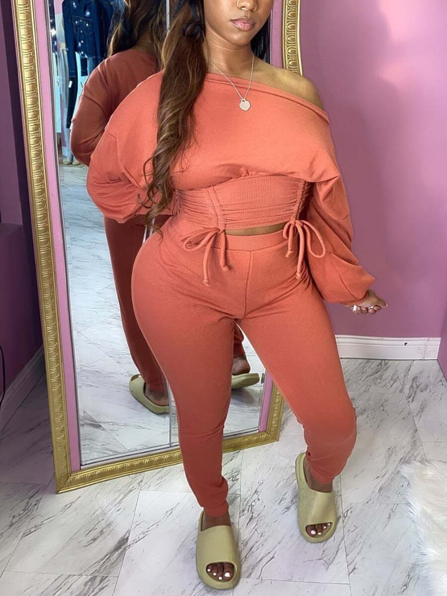 LW Lovely Casual Dropped Shoulder Drawstring Design Pink Two Piece Pants Set