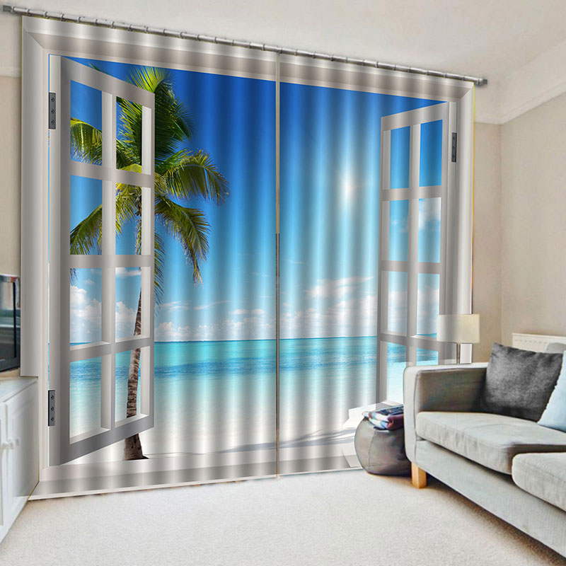 3D Sea Scenery Out of The Window Printed Decoration Blackout Curtains for Living Room Custom 2 Panels Drapes No Pilling No Fading No off-lining