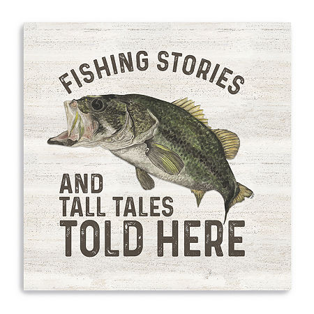 Less Talk More Fishing I-Tall Tales Giclee Canvas Art, One Size , Beige