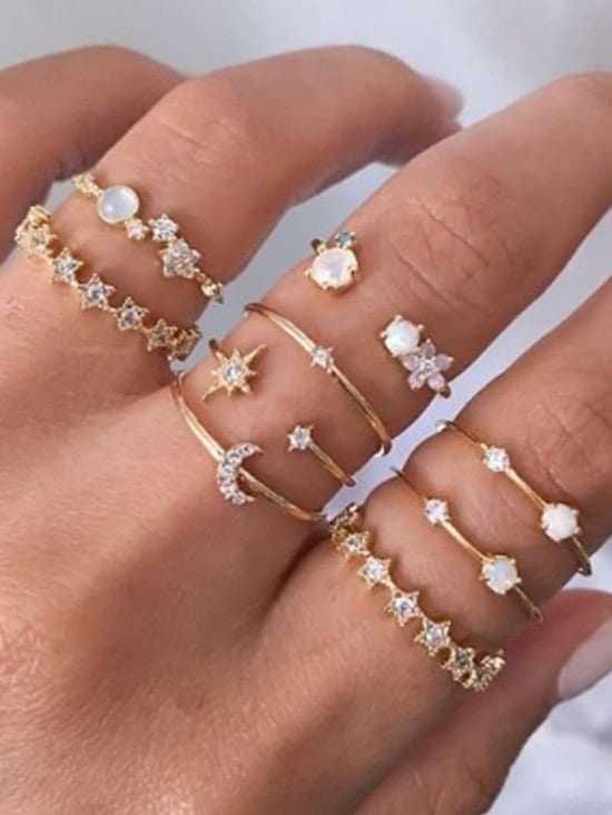 9Pcs Stars Crescent Rhinestone Rings Set