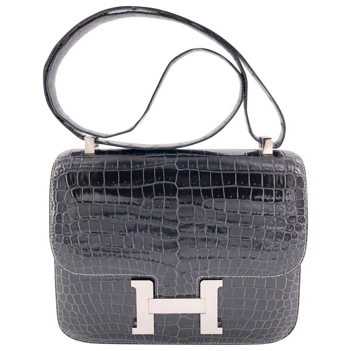 Hermes - Sac a main Constance pour femme en cuir exotique - gris