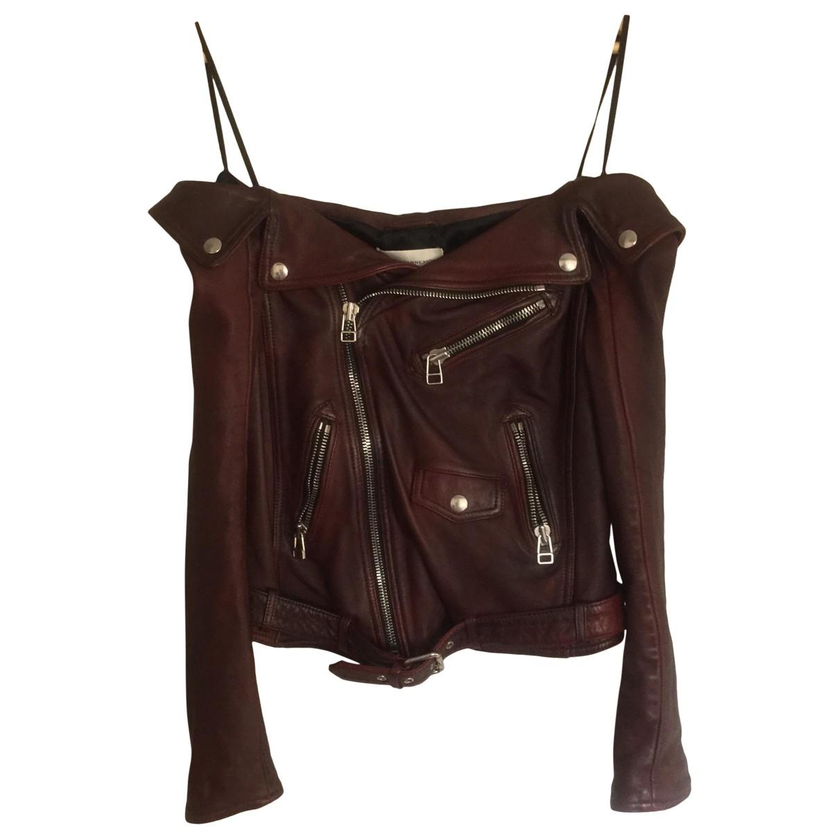 Faith Connexion \N Burgundy Leather Leather jacket for Women 36 FR