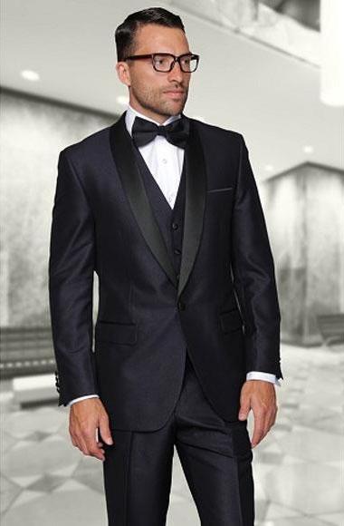 Shiny Indigo One Button Shawl Three Piece Tuxedo For Men