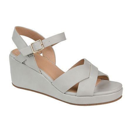 Journee Collection Womens Kirstie Pumps Wedge Heel, 8 1/2 Medium, Gray