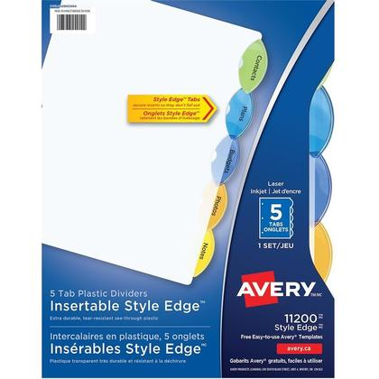 Avery@ Intercalaires ins erables en plastique Style Edge, multicolores, 5 Onglets/Jeu (11200) 714451