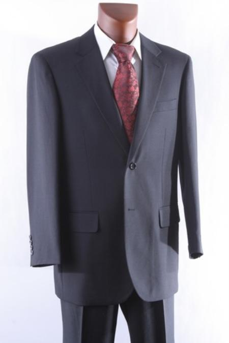Mens 2 Button 1 Wool Suit W Single Pleat Pants Black