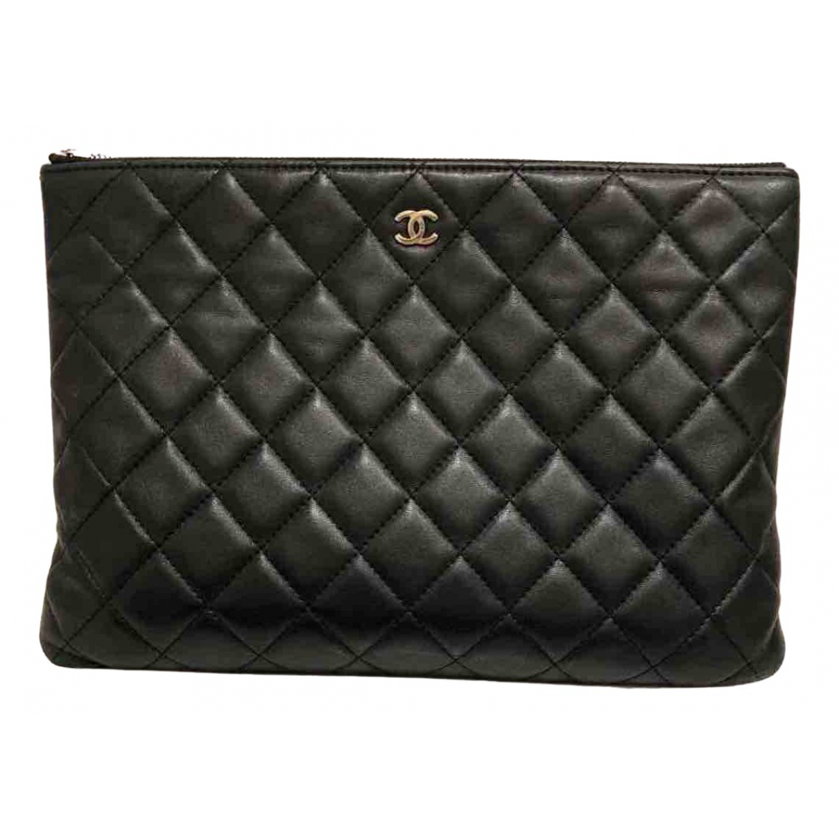 Chanel Timeless/Classique Clutch in  Schwarz Leder