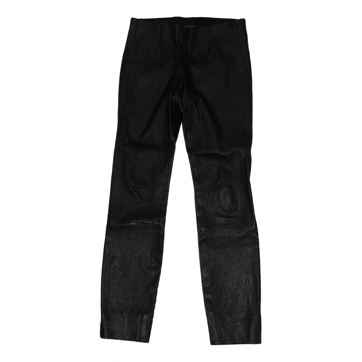 Theory \N Black Leather Trousers for Women 6 US