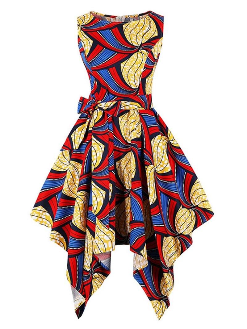Ericdress Asymmetrical Print Bowknot Women's Dress
