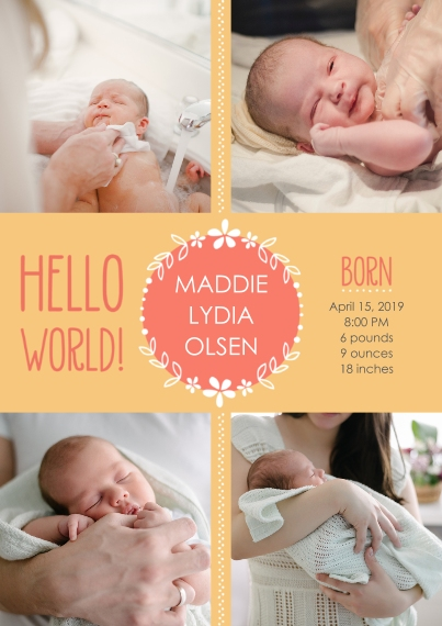 Newborn 5x7 Cards, Premium Cardstock 120lb with Scalloped Corners, Card & Stationery -Hello World! Baby Announcement Girl by Well Wishes