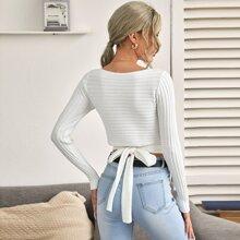 Jersey tejido de canale de espalda con cordon