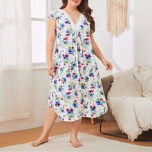 Plus Floral Contrast Lace Cap Sleeve Nightdress