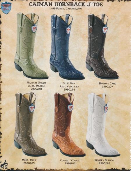 JToe Genuine Caiman Hornback Mens Cowboy Boots Diff. Colors/Sizes