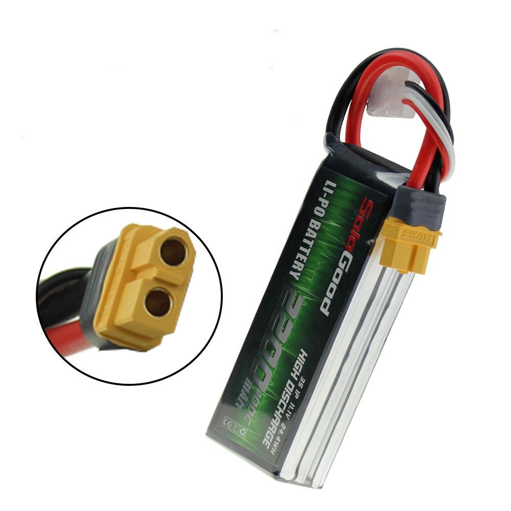 Sologood 11.1V 2200mAh 100C 3S Lipo Battery XT30 Plug 101*33*25mm