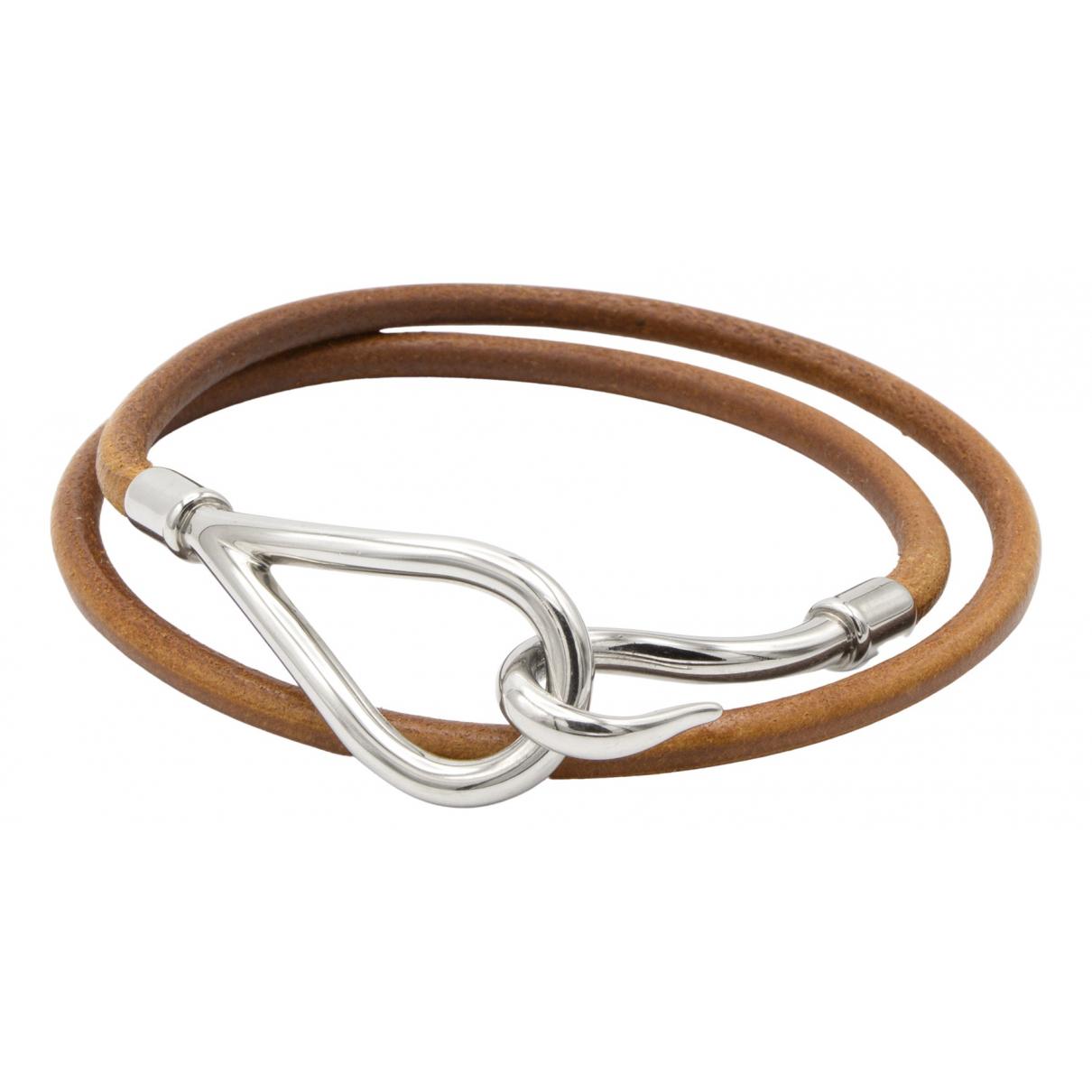 Hermes Jumbo Armband in  Silber Leder