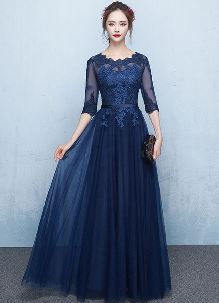 Milanoo Blue Prom Dress 2020 Long Lace Applique Evening Dress Tulle Dark Navy Sash Floor Length Party Dress wedding guest dress