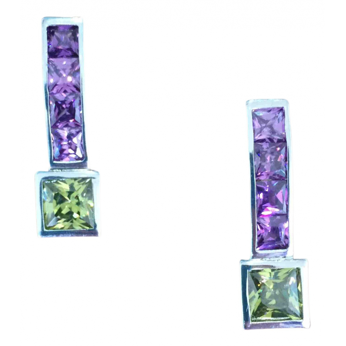 Non Signe / Unsigned Amethyste OhrRing in  Bunt Silber