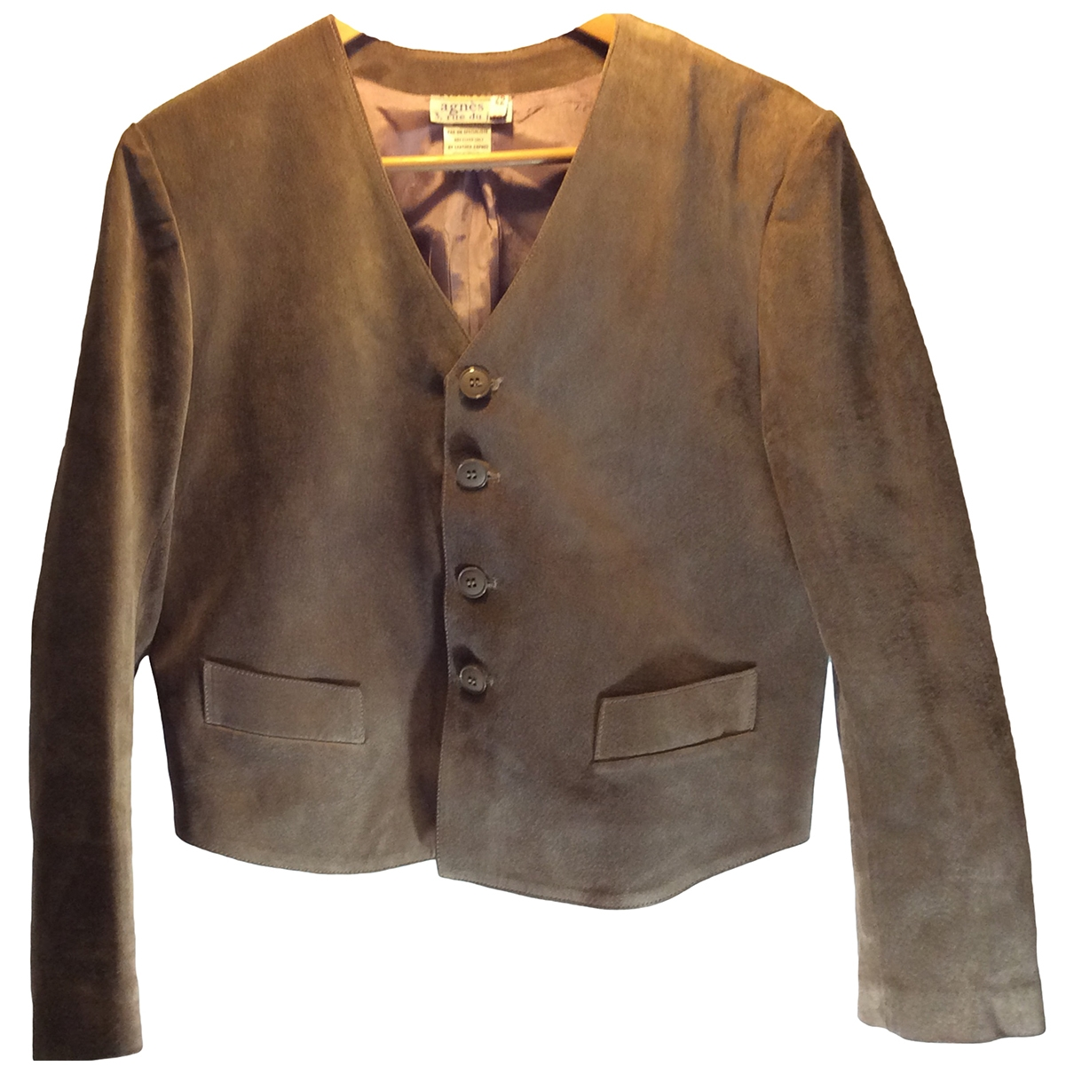Agnes B. - Veste   pour femme en cuir - marron