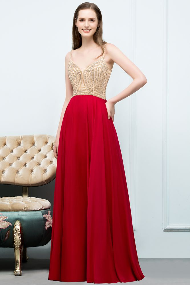 STELLA | Una linea de espaguetis palabra de longitud rebordear vestidos de baile de borgoña