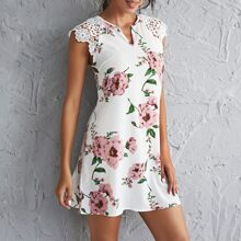 Notch Neck Guipure Lace Shoulder Floral Dress