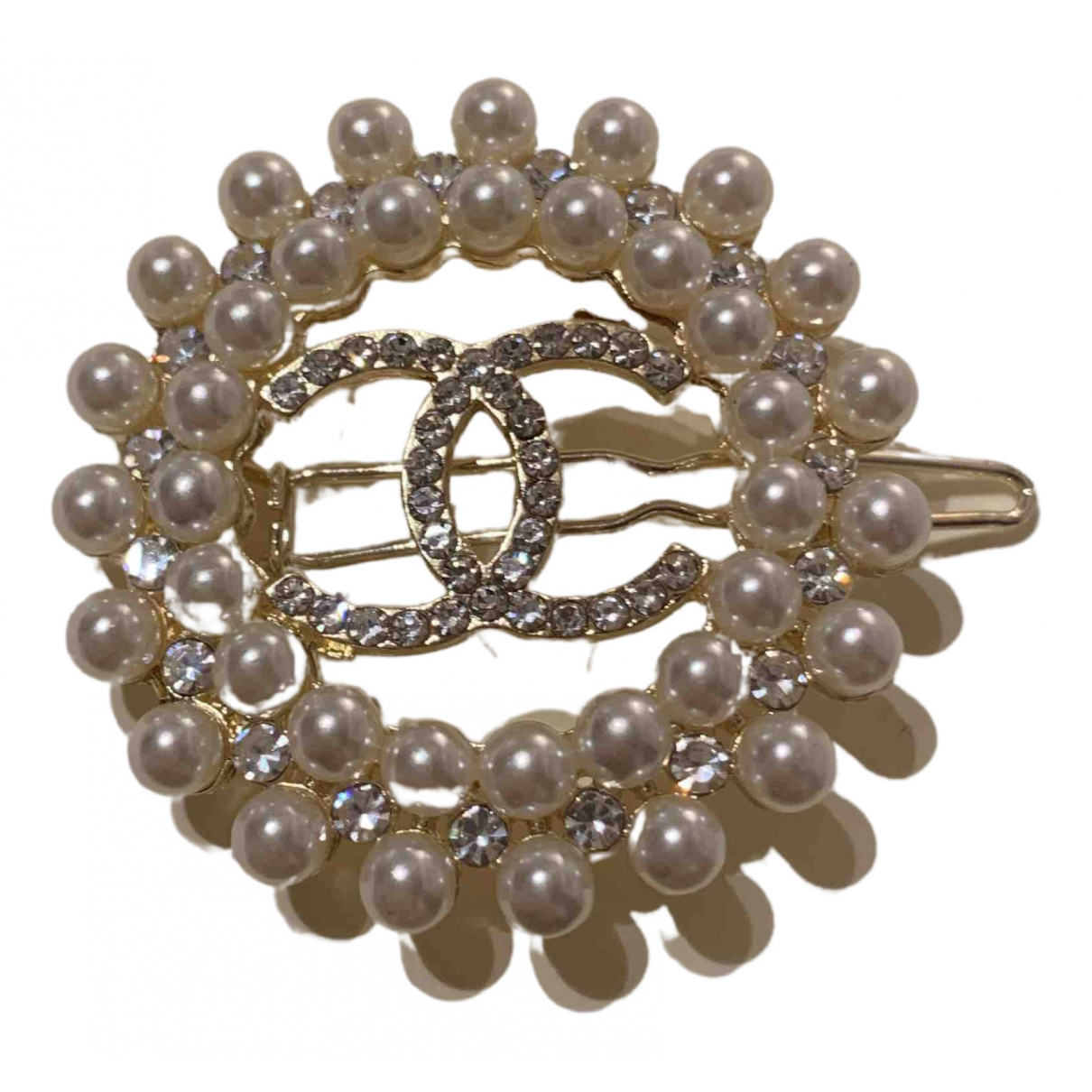 Chanel CC Haarschmuck in  Weiss Metall