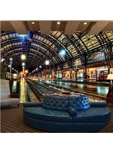 Magnificent Train Station Scenery Pattern Decorative Waterproof 3D Wall Murals