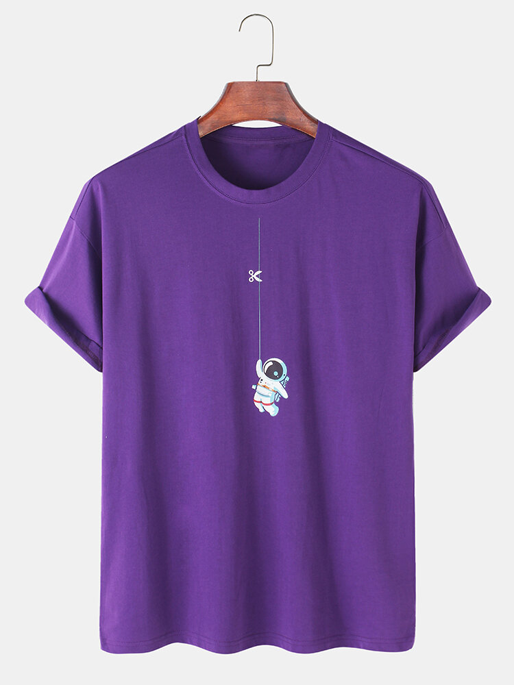 Mens 100% Cotton Astronaut Printed Round Neck Casual Short Sleeve T-shirts