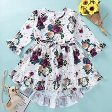 Vestido de niñitas con cinturon bajo fruncido con estampado floral