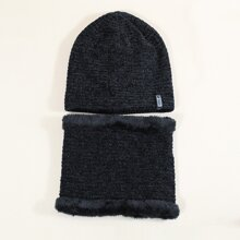 Men Letter Patch Beanie & Ring Scarf