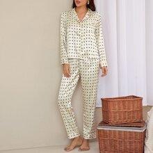 Satin Schlafanzug Set mit Stern Muster