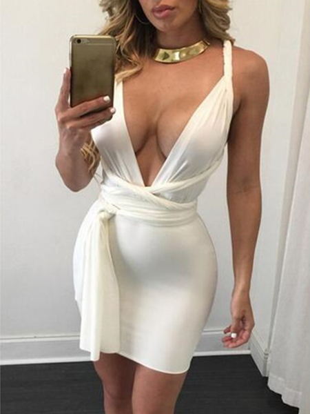 Yoins Sexy Backless Lace-up Deep v neck Sleeveless Mini Dress