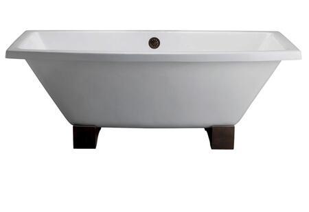 CTSQN67-WH Athens Cast Iron Tub  67  No Holes  White  Wooden
