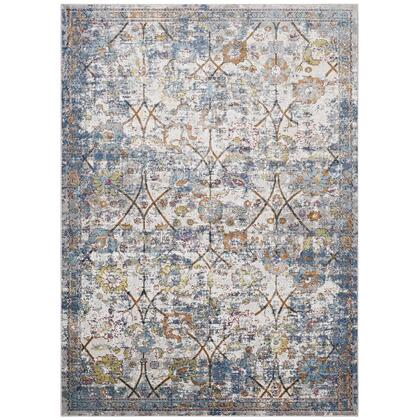 Minu Collection R-1091B-810 Distressed Floral Lattice 8x10 Area Rug in Light Blue  Yellow and Orange