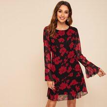Flounce Sleeve Ruffle Hem Floral Print Dress
