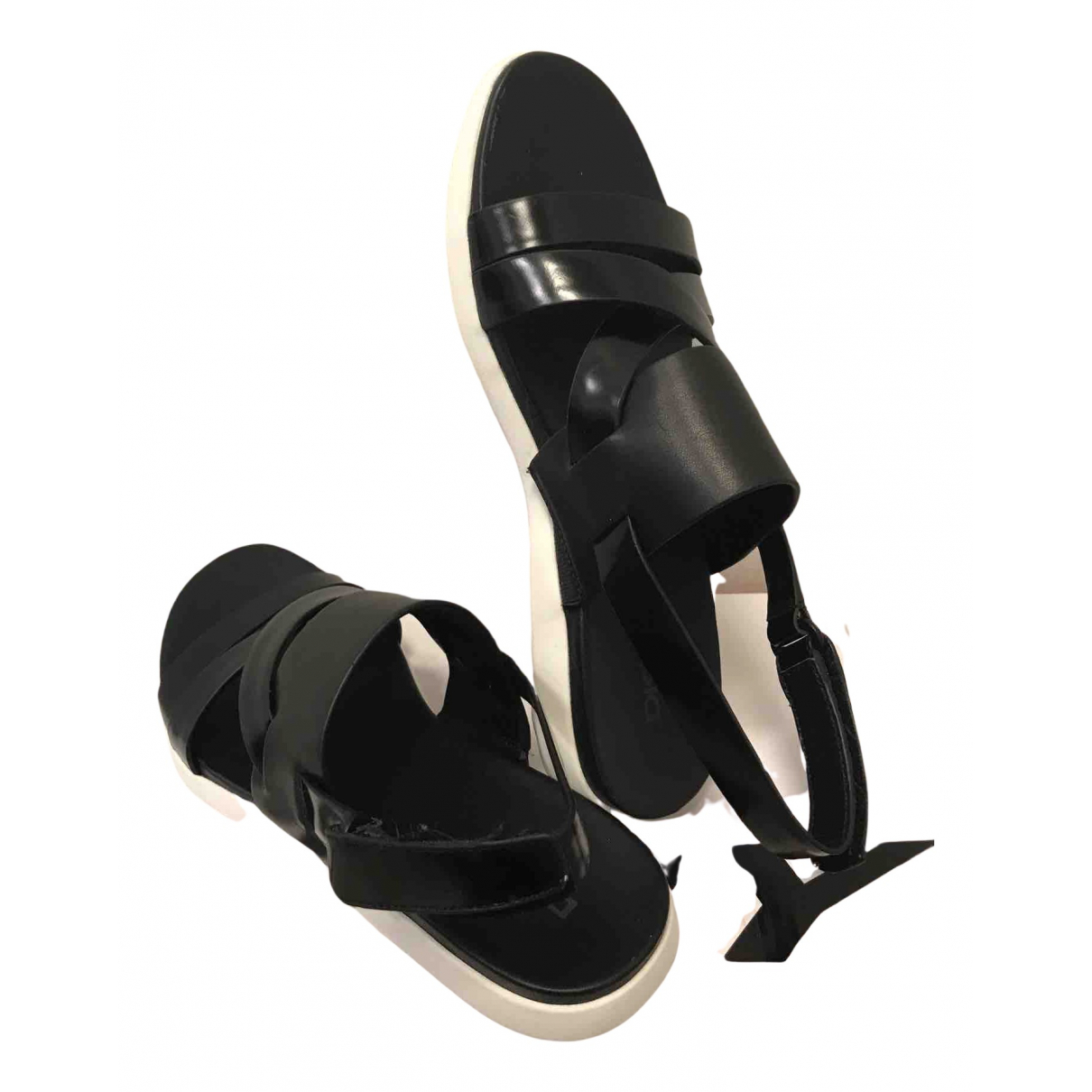 Dkny N Black Leather Sandals for Women 37.5 EU