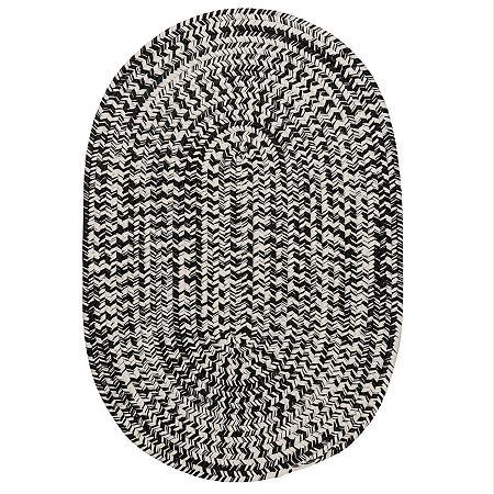 Colonial Mills Biscayne Tweed Braided Oval Reversible Indoor/Outdoor Rugs, One Size , Black
