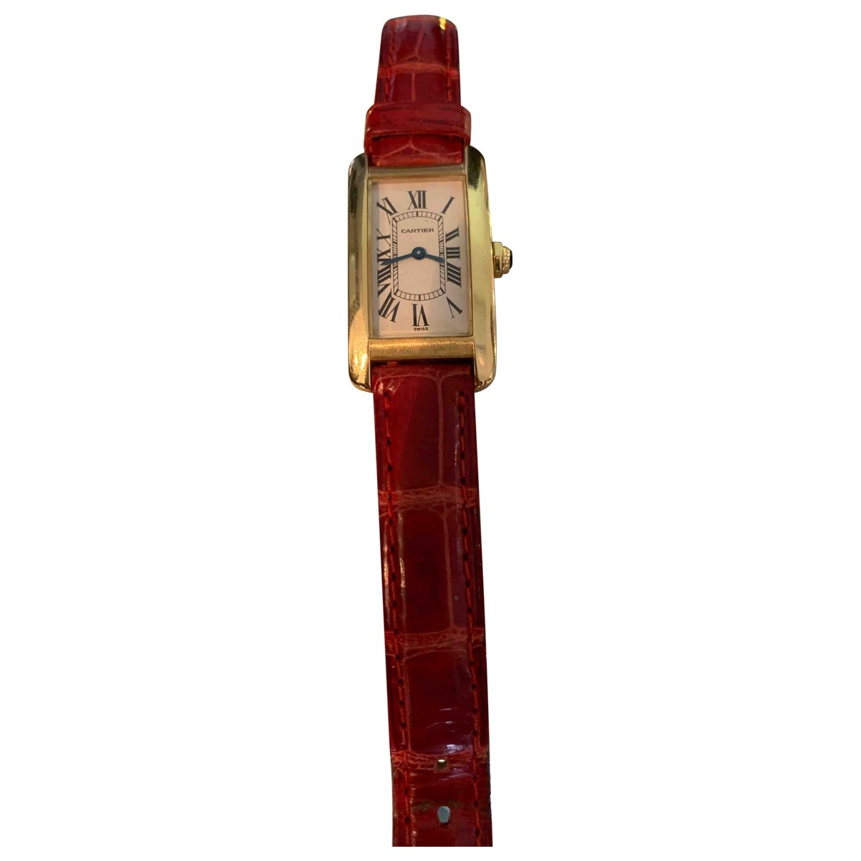 Cartier Tank Americaine Uhr in  Rot Gelbgold
