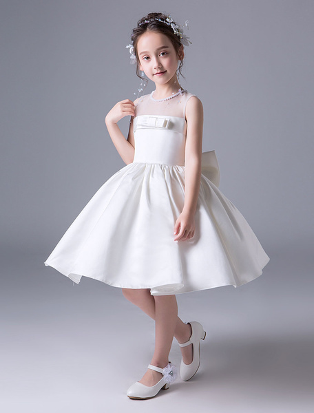 Milanoo Flower Girl Dresses Satin Ivory A Line Bows Sash Pleated Kids Tea Length Party Dresses